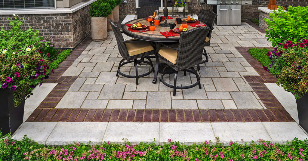 Unilock Patio with Paver Patterns and Inlays